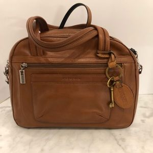Fossil Leather Portfolio Satchel British Tan Color